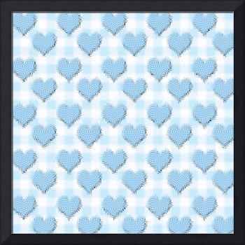 Blue gingham love hearts wallpaper