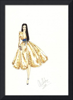 Fashion Art Gold Sequinned Dress Illustration