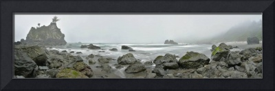 Hidden Beach panorama in moody fog