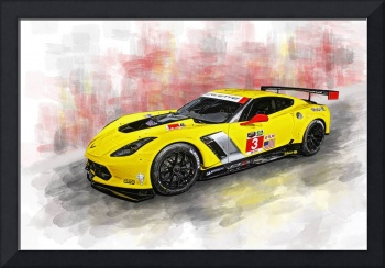 Corvette C7.R Watercolor Print
