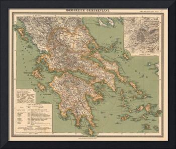 Vintage Map of Greece (1888)