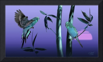 Blue Parrots and Bamboo