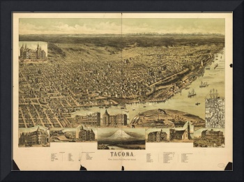 Aerial View of Tacoma, Washington (1890)