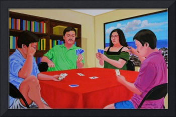 Three Men and a Lady Playing Cards