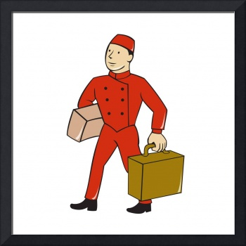 Bellboy Bellhop Carry Luggage Cartoon