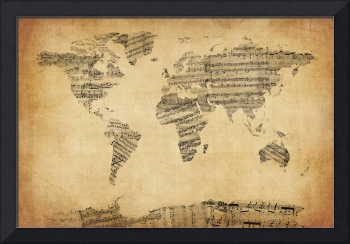Map of the World Map from Old Sheet Music