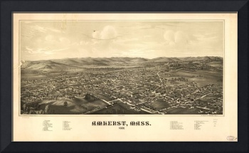 1886 Amherst, MA Bird's Eye View Panoramic Map