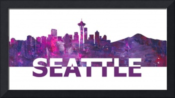 Seattle Skyline Scissor Cut Giant Text