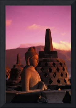 Indonesia, Java, Borobudor Temple And Buddha Statu