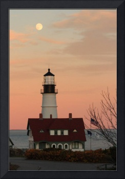 Moon over Portland Head Lighthouse