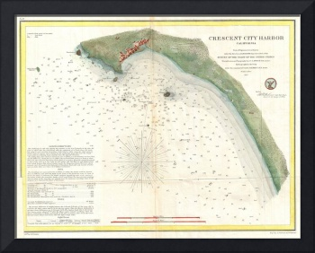 Vintage Map of Crescent City Harbor CA (1859)