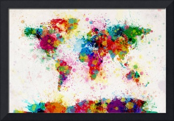 World Map Paint Drops