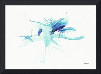 Blue Green Expressive Abstract Watercolor Painting