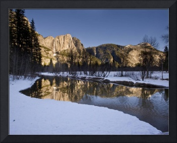 Yosemite Falls and Merced River in Winter