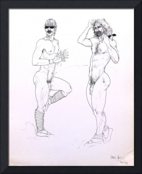Two nude male figures with sunglasses