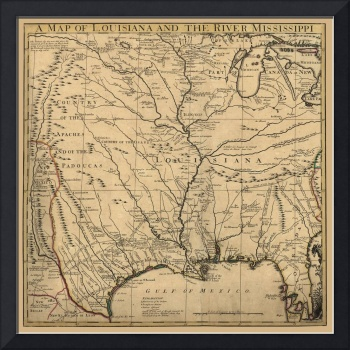 BACKGROUND VINTAGE MAP LOUISIANA AND MISSISSIPPI R