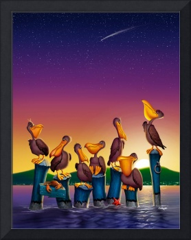 Pelican Sunset Whimsical Bird Cartoon Art Seascape