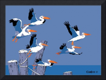 abstract Pelicans seascape tropical pop art