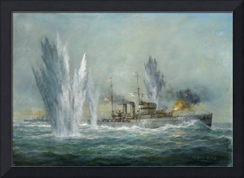 HMS Exeter engaging in the Graf Spree at the Battl
