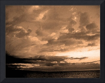 watercolor clouds sepia