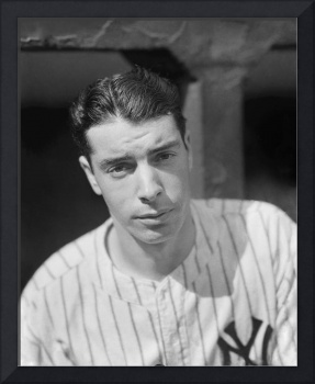 Joe DiMaggio in dugout looking forward