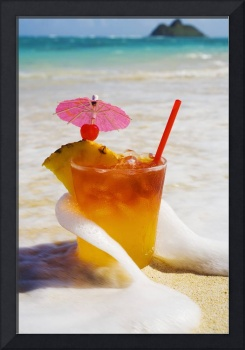 Mai Tai Getting Splashed By A Wave As It Rest On T