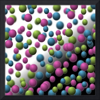 Colored Spheres on Black and White Background