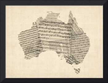Old Sheet Music Map of Australia Map