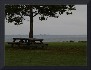 Park Bench By The Sea Just Before Hurricane Irene