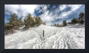 Snowy Path to Red Rocks