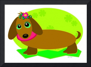 Dachshund with a Flower