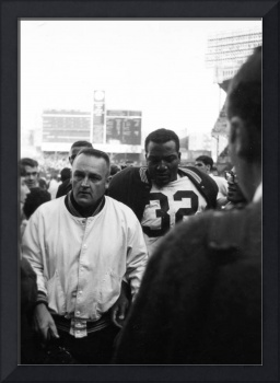Jim Brown after game walking out of stadium