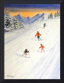 Skiing Family  On The Slopes
