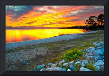 Vibrant Orange and Red Sunset Lake Reflection Art