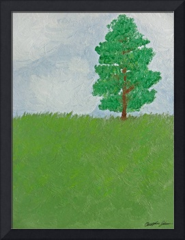 Tree on Hill - First Oil Painting