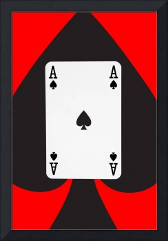 Playing Cards Ace of Spades on Red Background