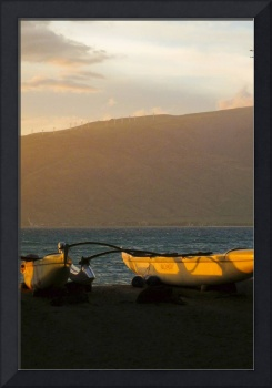 outrigger canoe at sunset 2
