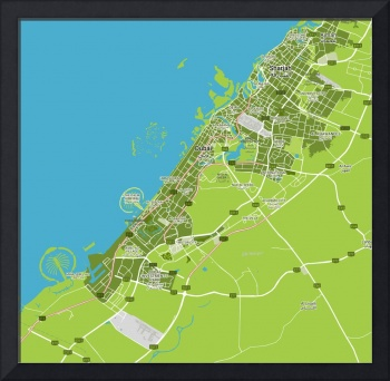 Minimalist Modern Map of Dubai, UAE 7