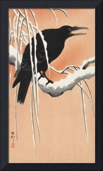 Crow on Snowy Branch I by Ohara Koson