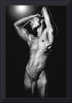 Man Nude in Vintage Black and white look