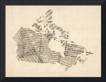 Old Sheet Music Map of Canada Map