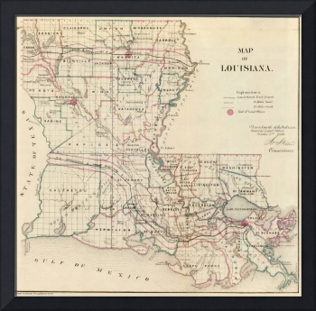 Antique Map of Louisiana. U.S. General Land Office