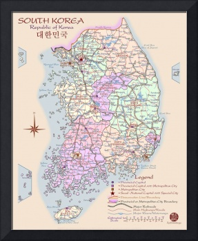 South Korea Map - artist-rendered