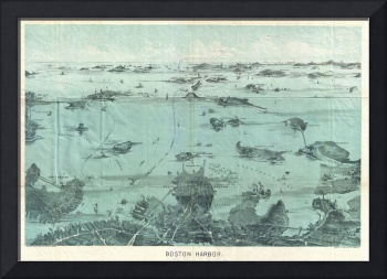 Vintage Pictorial Map of Boston Harbor (1897)