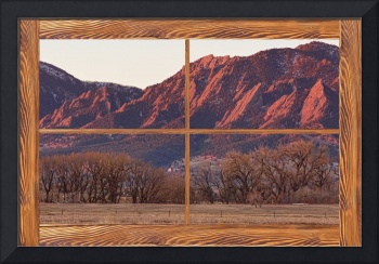 Boulder Flatirons Morning Barn Wood Picture Window