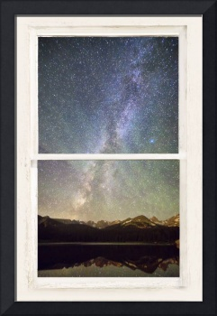 Mountain Milky Way View White Washed Rustic Window