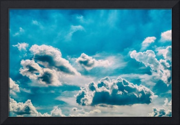 White Cumulus Clouds On Blue Sky