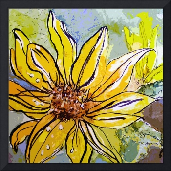 Sunflower Yellow Ribbon Watercolor and Ink Art