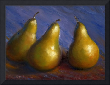 Impressionist Art; Gold Pears in Purple
