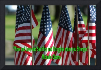 USA6 Flag Row Michelle O Strong Quote Large Green